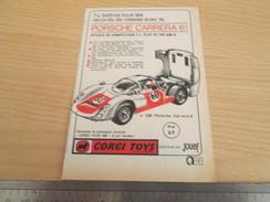 Page De Revue Des Années 60/70 : PUBLICITE  CORGY TOYS  PORSCHE CARRERA 6 Format  VOIR REGLE SUR PHOTO - Corgi Toys
