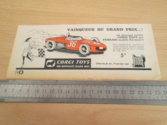 Page De Revue Des Années 60/70 : PUBLICITE  CORGY TOYS  FERRARI F1 Format  VOIR REGLE SUR PHOTO - Corgi Toys