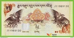 Voyo BHUTAN 5 Ngultrum 2006 P28a B217a UNC Birds Prefix J - Bhutan