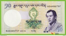 Voyo BHUTAN 10 Ngultrum 2006 P29a B218a UNC Monastery Prefix K - Bhutan
