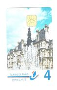 Carte Stationnement PARIS Carte N° 4 à 30 Euros/ L'hotel De Ville Siège De La Mairie De Paris/  Bon état // Rare Sur D* - France