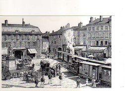 01 PONT DE VAUX Autrefois Arrivee Des Tramways Place Joubert Reproduction Carton Format 19x13 Cm Illustrateur Poizat - Pont-de-Vaux