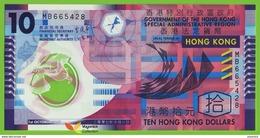 Voyo HONG KNG 10 Dollars 2007 P401b  B720b UNC Flower Prefix MB Polymer - Hong Kong