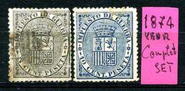 SPAGNA - Year 1874 - COMPLET  SET - Usati - Used - Utilisè - Gebraucht. - Tasse Di Guerra