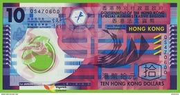 Voyo HONG KNG 10 Dollars 2012 P401c  B720c UNC Flower Prefix QS Polymer - Hong Kong