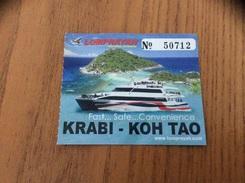 """Ticket De Transport (bateau) """"LOMPRAYAH HIGH SPEED CATAMARAN - KRABI KOH TAO"""" Thaïlande - Billets D'embarquement De Bateau"""