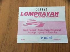 "Ticket De Transport (bateau) ""LOMPRAYAH HIGH SPEED CATAMARAN - Koh Samui Suratthani"" Thaïlande - Billets D'embarquement De Bateau"
