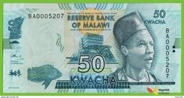 Voyo MALAWI 50 Kwacha 2016 P64c B157c UNC Prefix BA Elephant - Malawi
