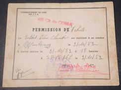 MILITARIA - Forces Françaises En Allemagne , Permission D 'Achats Pour Offenbourg En 1953 - L 10852 - Documents