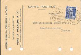 OIRENEES ORIENTALES 66  -  AMELIE LES BAINS  -  DAGUIN  N° AMB 103 D   -  VOIR DESCRIPTION  -  1949 (papier A Cigarettes - Postmark Collection (Covers)