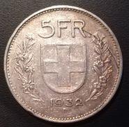 SVIZZERA - ANNO 1932 - 5 FRANCHI  -  QUALITA' B - CONFEDERATIO HELVETICA - Svizzera