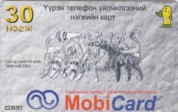 Mongolia, Mon-30b, 30 Units, Motiv In Grey. Mobicard, 2 Scans. - Mongolia