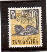 CP87 - TANGANYIKA  45** De 1961. Lion. - Timbres