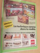 LEGO LA TECHNIQUE COMME  DANS LA REALITE... PUBLICITE  Page De Revue Des Années 70 Plastifiée Par Mes Soins , - Catalogs