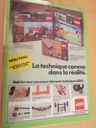 LEGO LA TECHNIQUE COMME  DANS LA REALITE... PUBLICITE  Page De Revue Des Années 70 Plastifiée Par Mes Soins , - Catalogues