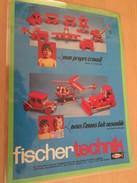 FISCHER TECHNIK .. PUBLICITE  Page De Revue Des Années 70 Plastifiée Par Mes Soins , - Fischertechnik