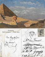 CPA  GIZEH (Egypte).  Le Sphinx ( Tableau 1908 De Rommer & Jonas). Carte Posté En 1910 De Cao Bang (indo-chine)  .A875 - Pittura & Quadri