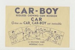 BUVARD CAR-BOY REGLISSE CHEWING-GUM BOISSON , La Réglisserie CAR , MOUSSAC (Gard) - Cake & Candy