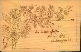 Echtholz Postkarte Mit Blumenranke Gelaufen 1901 Ab BERLIN W 55 - Ansichtskarten