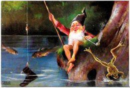 CPA Gnome Lutin Nain Grenouille Pipe Non Circulé - Fairy Tales, Popular Stories & Legends