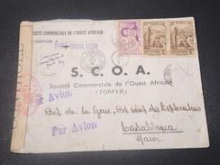 CÔTE D'IVOIRE - Enveloppe Commerciale De Bobo Dioulasso Par Avion Pour Le Maroc En 1941 , Contrôle Postal - L 10889 - Côte-d'Ivoire (1892-1944)