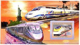 Guinée  -  Train à Grande Vitesse  - Eurostar (Paris-London) - Amtrak 2009  -  1v Sheet Neuf/mint - Trains