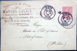 30 NIMES POIDS ET MESURES MARIUS CALAIS INSTRUMENTS DE PESAGE 11 RUE HORLOGE CARTE COMMERCIALE - Nîmes