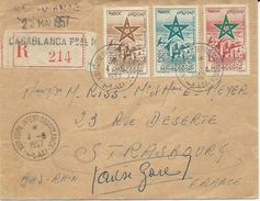 LETTRE RECOMMANDEE 1957 AVEC CACHET XIII° FOIRE INTERNATIONALE CASABLANCA - Marokko (1956-...)