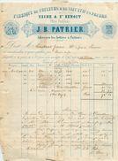 FACTURE  Fabrique De Couleurs J.b.patrier Usine à St Benoit Près Poitiers 1862  2scans - France