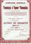 Italie: Compagnie Générale Des TRAMWAYS à VAPEUR PIÉMONTAIS; Action De Priorité Série C - Railway & Tramway