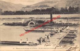 Manoeuvres De Pontage Sur Le Rhône - Le Pont Coupé Pour Le Passage D'un Bateau Au Vapeur - 1902 - Guerre