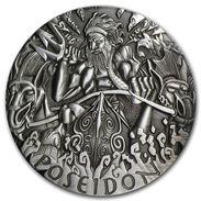 2014 Tuvalu 2 Ounces Silver Gods Of Olympus. Poseidon (High Relief) - Tuvalu