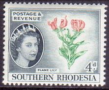 SOUTHERN RHODESIA 1953 SG 82 4d MNH Flame Lily - Rhodésie Du Sud (...-1964)