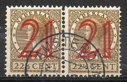 PAYS-BAS - (Royaume) - 1929 - Paire Du N° 222 - (Timbres De 1926 Surchargés) - Oblitérés