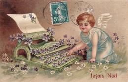 CPA Gaufrée Ange Angel Angelot Machine à écrire Typewriter Scheibmaschine Joyeux Noël Embossed - Angels