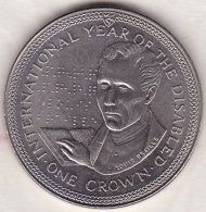 ISLE OF MAN .ONE CROWN 1981. INTERNATIONAL YEAR OF THE DISABLED . LOUIS BRAILLE - Monedas Regionales