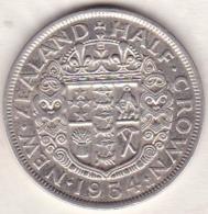 NEW ZEALAND .1/2 Crown 1934 .GEORGE V . KM# 5  . Argent - Nouvelle-Zélande