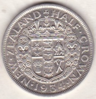 NEW ZEALAND .1/2 Crown 1934 .GEORGE V . KM# 5  . Argent - New Zealand