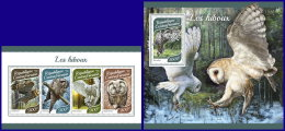 CENTRAL AFRICA 2017 MNH** Owls Eulen Hiboux M/S+S/S - OFFICIAL ISSUE - DH1753 - Uilen