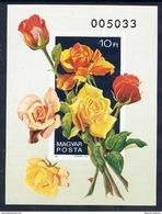 HUNGARY 1982 Roses Imperforate Block MNH / **.  Michel Block 156B - Blocks & Sheetlets