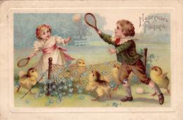 CPA Sport Enfants Jouant Au Tennis Poussins Heureuses Pâques Fantaisie Illustrateur - Tennis
