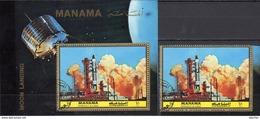 Gemini 8 NASA 1972 Manama 1072+Block 208 O 9€ Mond-Oberfläche Moon Exploration Bloc Flag M/s Sheet S/s Bf Spaceship - United States