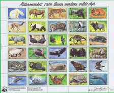 Denmark WWF 1986.  Sheet With 30 Labels;  Preserve Wildlife - Non Classificati