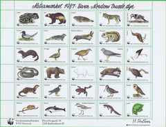 Denmark WWF 1987.  Sheet With 30 Labels;  Preserve Endangered Species In The Nordic Countries - Non Classificati
