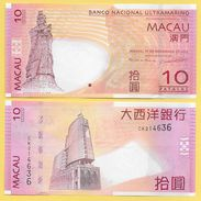 Macau Macao 10 Patacas P-80c 2013 BNU Banco Nacional Ultramarino New Sign. UNC - Macau