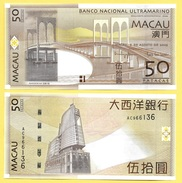 Macau Macao 50 Patacas  P-81Ba 2009 BNU Banco Nacional Ultramarino UNC - Macau