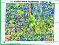 Denmark WWF 1991.  Sheet With 30 Labels; Rainforest Supermarket - W.W.F.
