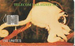 CARTE +PUCE-150U--SC7-MADAGASCAR-LEMURIENS-V° 8 GN° Rge 00393587 En Dessous Ligne En Bas UTILISE-TBE - Madagascar