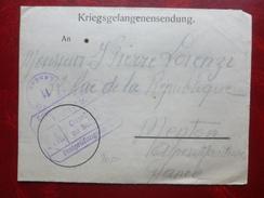 PAUL LORENZI DE MENTON LETTRE PRISONNIER EN ALLEMAGNE CACHET POSTPRUFUNGSSTELLE 1918 LANDAU - Documenten