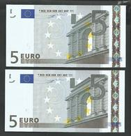 "Lot 2 Pieces Greece  ""Y""  5  EURO GEM UNC! Duinseberg Signature! Printer N001G1!! - EURO"